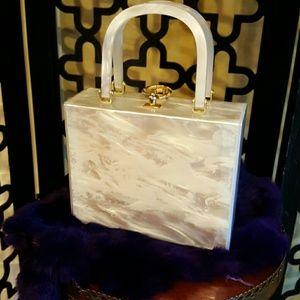 MODERN WHITE LUCITE BOX PURSE