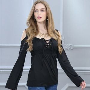 Tops - Deep V lace up long sleeve cotton blend blouse. M