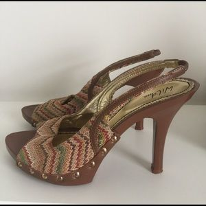 Wild Pair Shoes - Multicolored sling back heel.