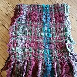 Accessories - Scarf with burgundy, teal and purple fabric