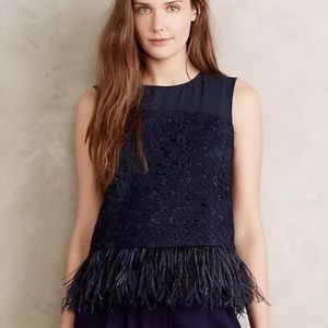 Greylin Tops - Anthropologie Greylin Lace Feathered Fringe Top