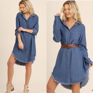 ❣NEW IN❣ Chic Fringe Denim Look Button Shirt Dress