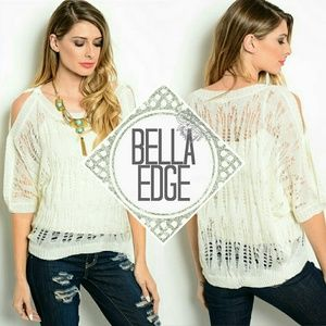 Bella Edge Sweaters - LAST//Ivory distressed cold shoulder sweater