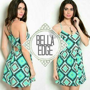 Bella Edge Dresses & Skirts - Mint tribal geo empire waist swim cover dress