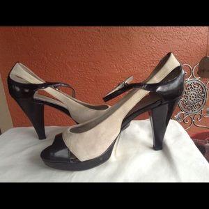 Franco Sarto black & tan suede shoes