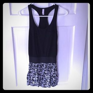 Exhilaration Dresses & Skirts - Black & white floral romper