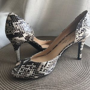 """Marc Fisher Shoes - Snake Skin Joey Peep Toe Pumps with 3"""" Heels"""