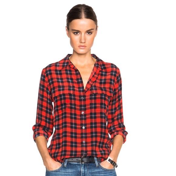 6cbabe5e13125e Equipment Tops - Equipment Slim Signature Plaid Shirt in Red size M