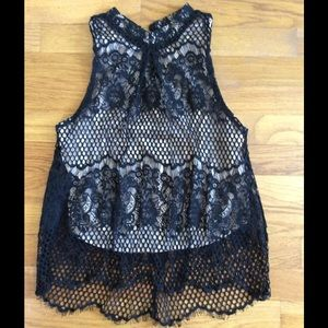 High neck black lace top with scalloped detail