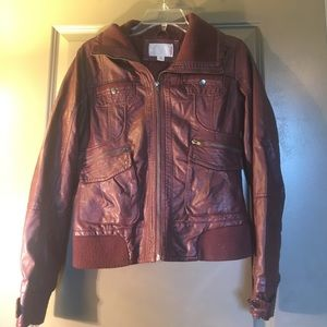 xhilaration faux leather bomber jacket on Poshmark