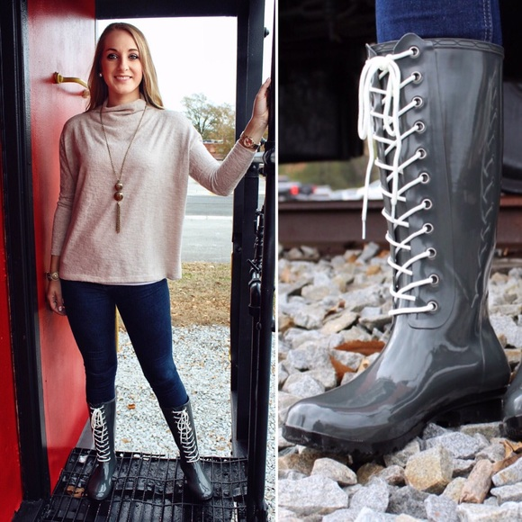 bf1f3aad9 Sadie Robertson Roma Opinca Lace-Up Rain Boots Boutique