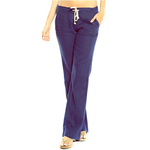 Pants - Navy Linen Blend Drawstring Pants