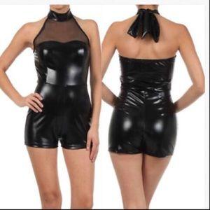 Pants - Romper Faux Shiny Liquid Mesh Sexy Wet Halter
