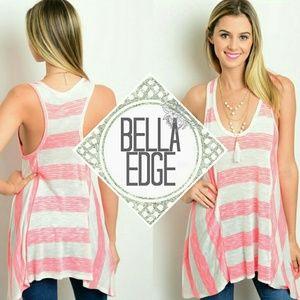 Bella Edge Tops - Pink white wide striped asymmetric tunic tank top