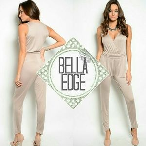 Bella Edge Pants - Taupe beige vneck jumpsuit