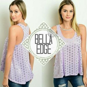 Bella Edge Tops - Lilac silver sequin racerback tank top