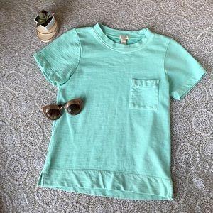 J. CREW Mint Short Sleeve Sweatshirt Pocket Tee