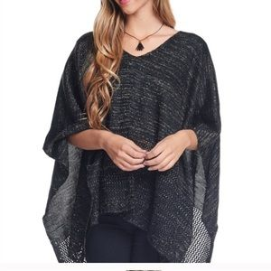 Bellino Clothing Sweaters - Black open weave poncho