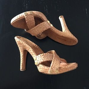 BCBGMaxAzria Tan Weaved Leather Heeled Sandals