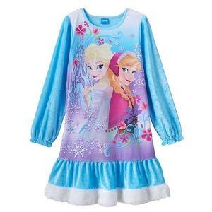 Disney Other - Disney Frozen Girls Elsa & Anna Fur Trim Nightgown
