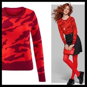 cabi // red camo print pullover sweater fall 2016