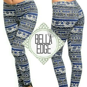 Bella Edge Boutique Pants - Blue black tribal aztec leggings