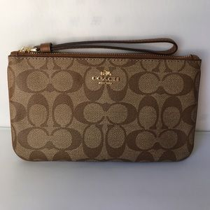 Coach Signature Pvc Large Khaki/Saddle Wristlet