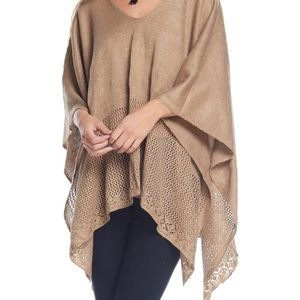 Bellino Clothing Sweaters - Taupe open weave poncho