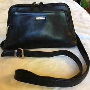 Perlina Handbags - Perlina organizer crossbody bag, black leather