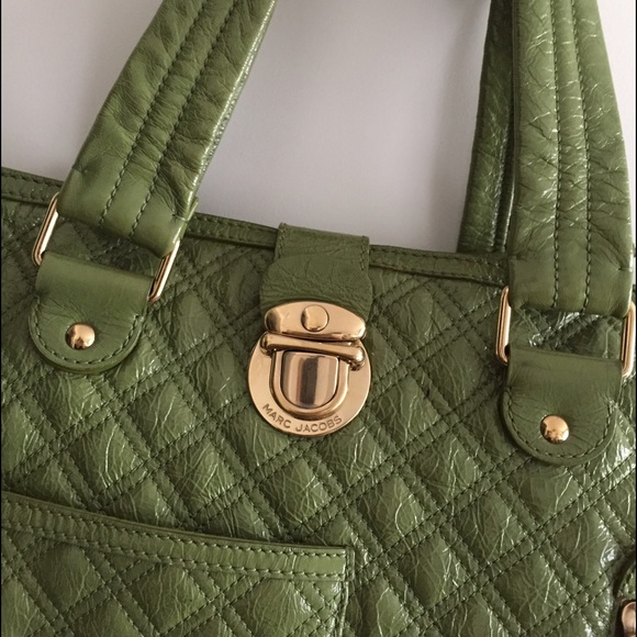 Marc Jacobs Handbags - Marc Jacobs Quilted Moss Green Patent Leather Tote