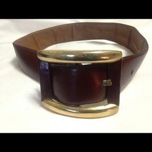 Rodier Paris Accessories - Women's 1970s Brown Leather Belt & Gold Buckle