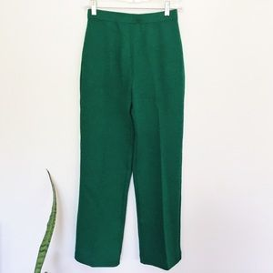 St. John Knitted Cropped Pants, Green