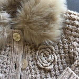 Monsoon Other - Monsoon Faux Fur collared baby sweater cardigan