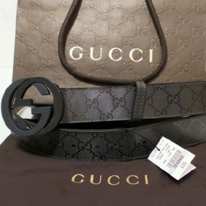 Gucci Other - Gucci Grey Shiny Imprime Mens Belt NWT Sizes Avail