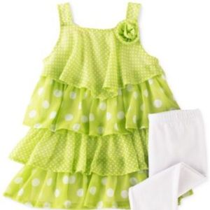 Kids Headquarters Other - Kids Headquarter 2pc dot top & ruffled overall set