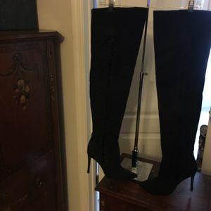 Schultz Shoes - Nasty Gal Schultz blk suede OTK side lace boots 8