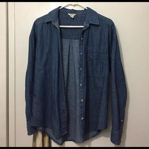 Blue Denim Forever 21 Button Up Shirt