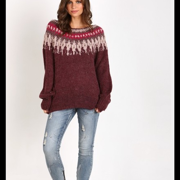 69% off Free People Sweaters - FREE PEOPLE BALTIC FAIR ISLE BOAT ...