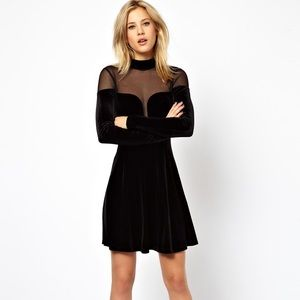 ASOS party velvet skater dress
