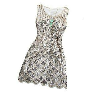 Beige beaded sequin dress