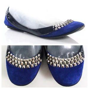 Belle by Sigerson Morrison Shoes - Sigerson Morrison Blue Leather Suede Studded Flats