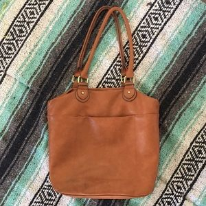 Brown faux leather tote purse
