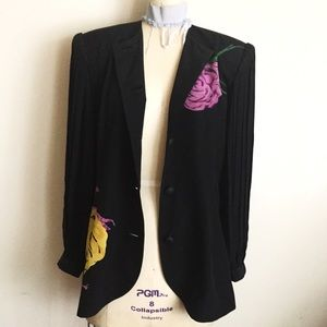 Vintage Jackets & Blazers - Black Silk Jacket with Peony Floral Print!