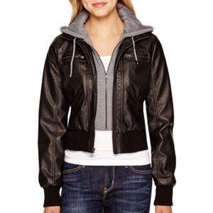 Maralyn & Me Jackets & Blazers - Leather jacket with hood.