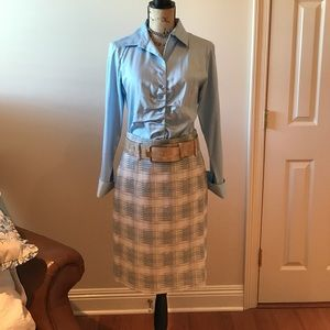 ANTONIO MELANI Other - Baby blue long sleeve shirt w/accent pencil skirt