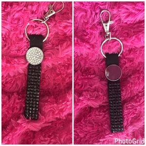 Accessories - Black key wristlet with rhinestones studs
