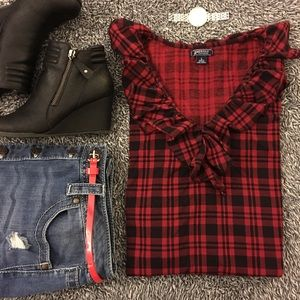 American Living Tops - Cute plaid top with ruffle detail!