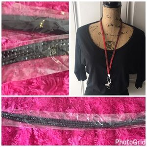 Accessories - Black rhinestones lanyard