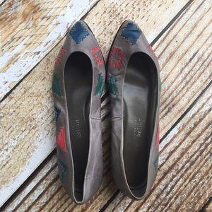 Stephane Kelian vintage Aztec pointy toe flats
