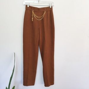 St. John Pants - St. John Knits Knitted Cropped Pants with Gold De
